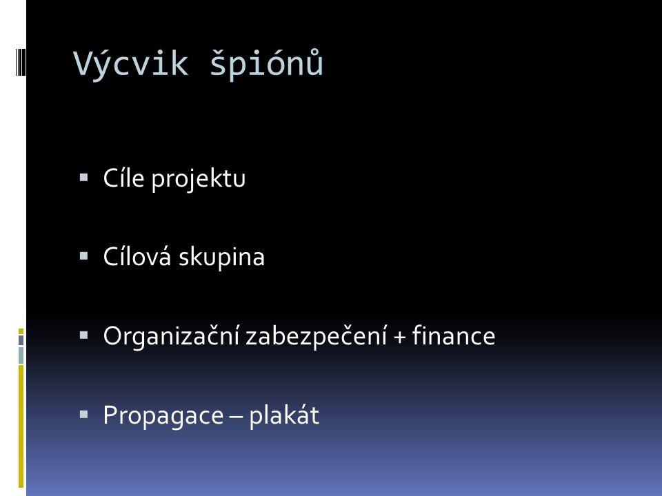 Výcvik špiónů  Cíle projektu  Cílová skupina  Organizační zabezpečení + finance  Propagace – plakát