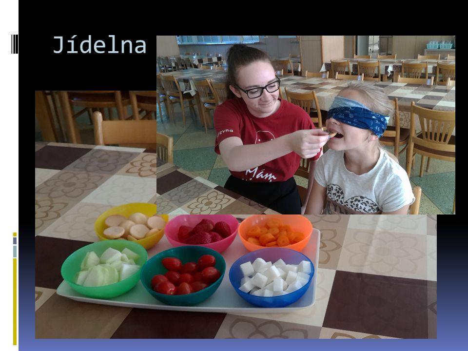 Jídelna  Poznávání jídla se zavázanýma očima  Zeptat se všech na alergie  Ovoce a zelenina
