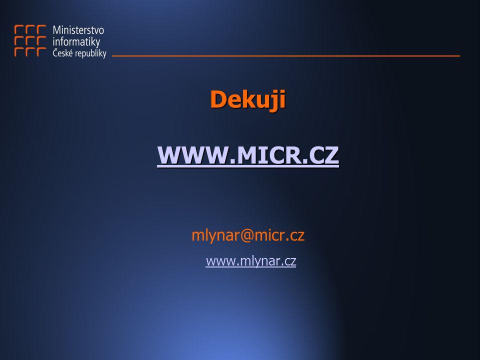 Dekuji WWW.MICR.CZ Dekuji WWW.MICR.CZ mlynar@micr.cz WWW.MICR.CZ www.mlynar.cz