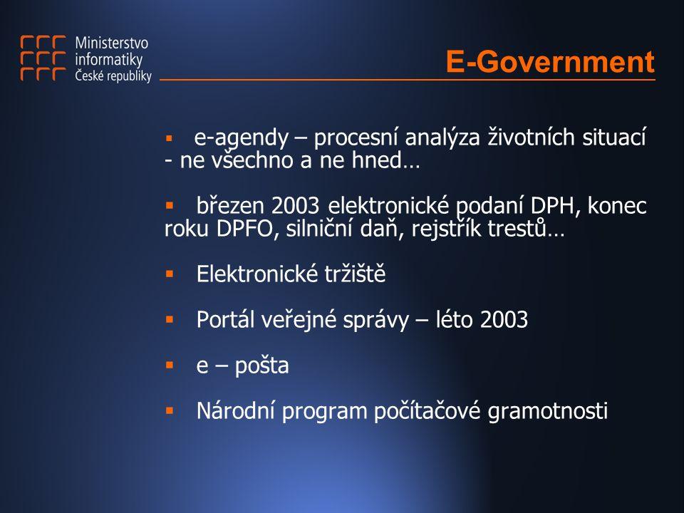 E-Government  e-agendy – procesní analýza životních situací - ne všechno a ne hned…  březen 2003 elektronické podaní DPH, konec roku DPFO, silniční