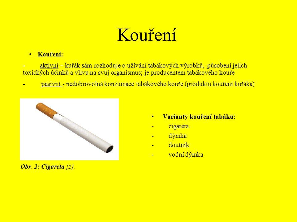 Varianty kouření tabáku: - cigareta - dýmka - doutník - vodní dýmka Kouření: - aktivní – kuřák sám rozhoduje o užívání tabákových výrobků, působení jejich toxických účinků a vlivu na svůj organismus; je producentem tabákového kouře Obr.