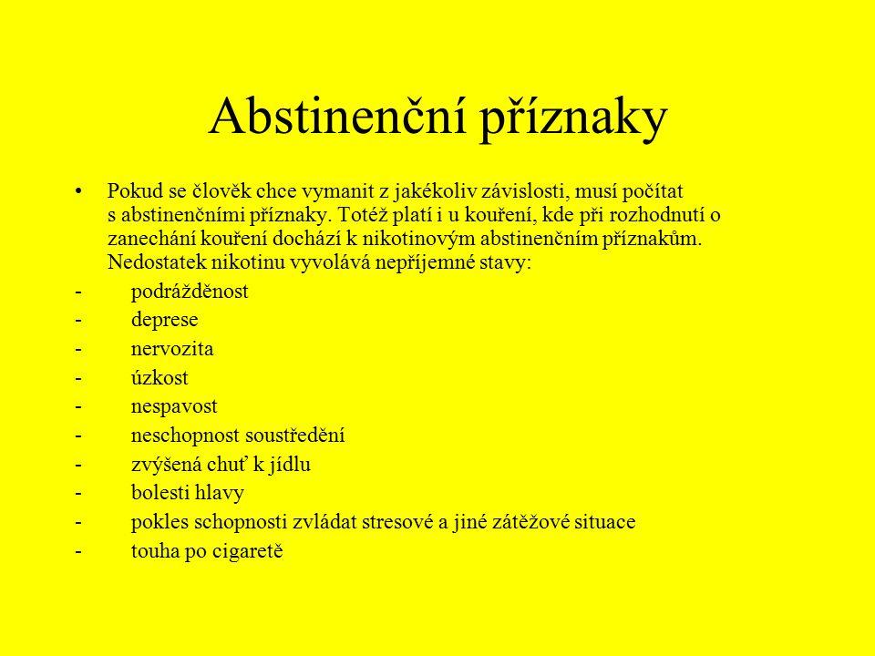 Abstinenční příznaky Pokud se člověk chce vymanit z jakékoliv závislosti, musí počítat s abstinenčními příznaky.