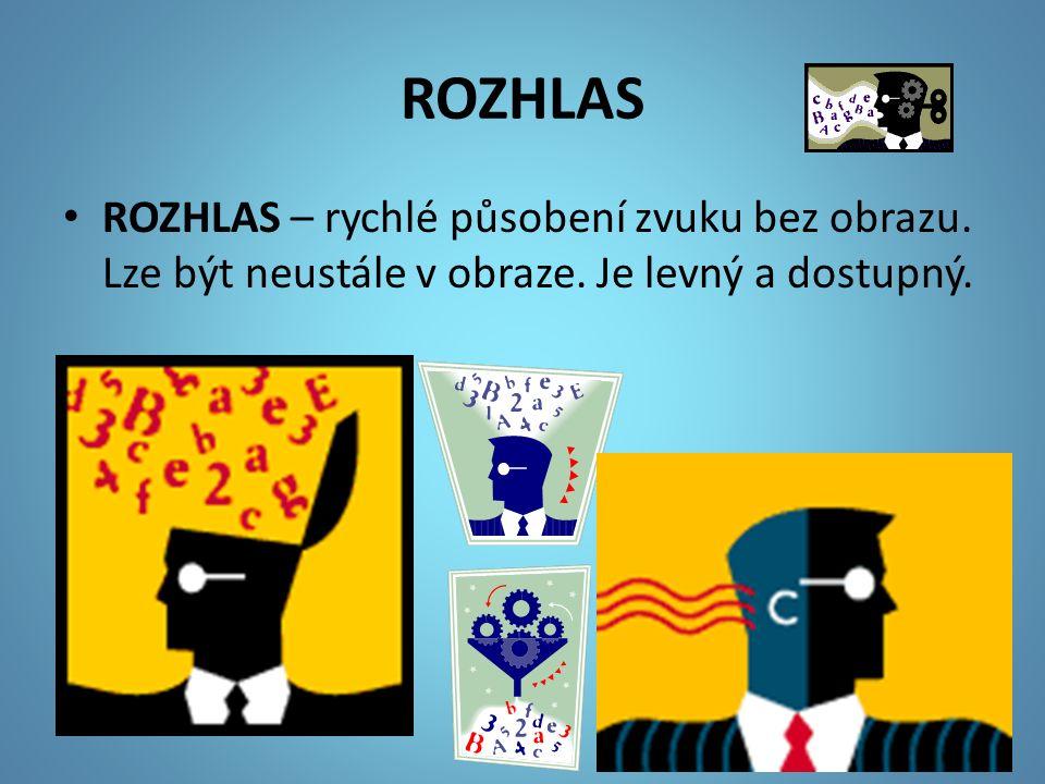 ROZHLAS ROZHLAS – rychlé působení zvuku bez obrazu. Lze být neustále v obraze. Je levný a dostupný.