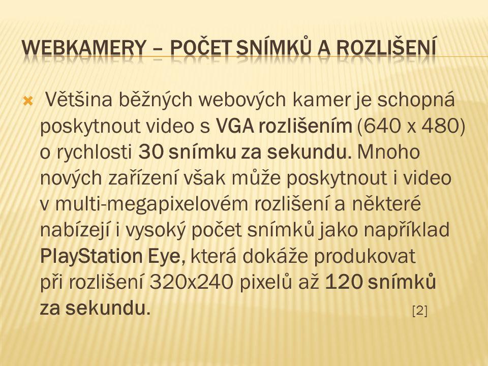  Většina běžných webových kamer je schopná poskytnout video s VGA rozlišením (640 x 480) o rychlosti 30 snímku za sekundu.