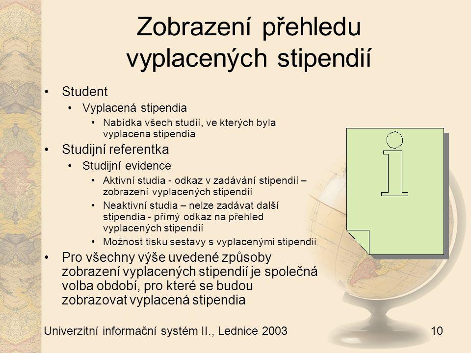 10 Univerzitní informační systém II., Lednice 2003 Zobrazení přehledu vyplacených stipendií Student Vyplacená stipendia Nabídka všech studií, ve kterých byla vyplacena stipendia Studijní referentka Studijní evidence Aktivní studia - odkaz v zadávání stipendií – zobrazení vyplacených stipendií Neaktivní studia – nelze zadávat další stipendia - přímý odkaz na přehled vyplacených stipendií Možnost tisku sestavy s vyplacenými stipendii Pro všechny výše uvedené způsoby zobrazení vyplacených stipendií je společná volba období, pro které se budou zobrazovat vyplacená stipendia