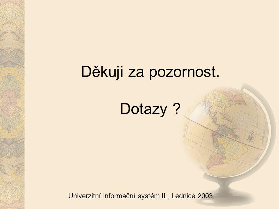 Univerzitní informační systém II., Lednice 2003 Děkuji za pozornost. Dotazy