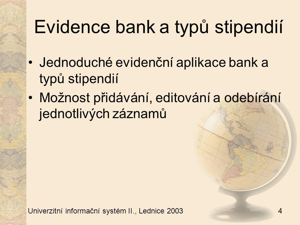 5 Univerzitní informační systém II., Lednice 2003 Zadávání stipendií I Zadávání stipendií je přístupné přes odkaz ve studijní evidenci (zadávat stipendia lze pouze do aktivních studií) Možnost výplaty stipendia na pokladnu nebo do banky Individuální i hromadné zadávání bankovního spojení Zobrazení všech stipendií ve stavu 1 (zpracovává studijní) V průběhu ledna – března se zobrazují stipendia z předcházejícího roku V prosinci pak zadaná stipendia na následující rok