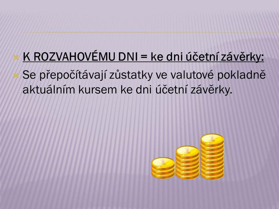  K ROZVAHOVÉMU DNI = ke dni účetní závěrky:  Se přepočítávají zůstatky ve valutové pokladně aktuálním kursem ke dni účetní závěrky.
