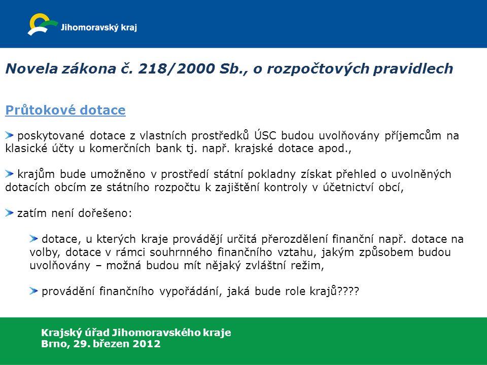Krajský úřad Jihomoravského kraje Brno, 29. březen 2012 Novela zákona č.