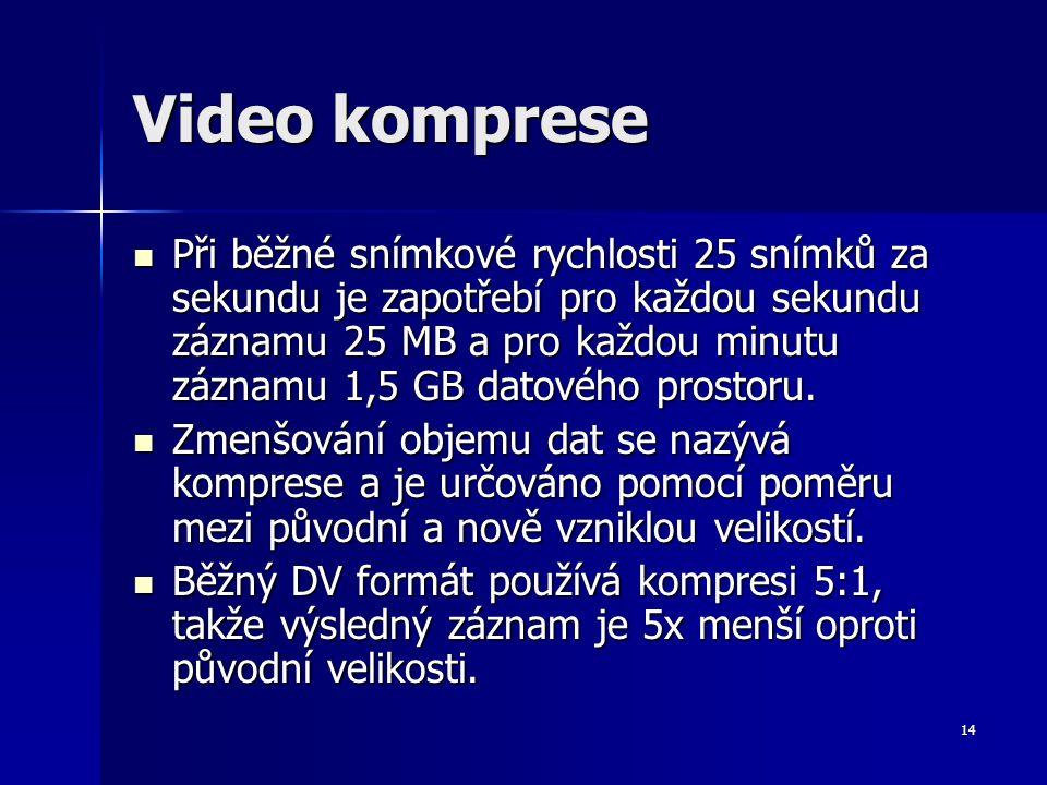 14 Video komprese Při běžné snímkové rychlosti 25 snímků za sekundu je zapotřebí pro každou sekundu záznamu 25 MB a pro každou minutu záznamu 1,5 GB datového prostoru.