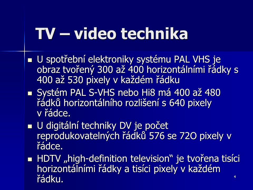 4 TV – video technika U spotřební elektroniky systému PAL VHS je obraz tvořený 300 až 400 horizontálními řádky s 400 až 530 pixely v každém řádku U spotřební elektroniky systému PAL VHS je obraz tvořený 300 až 400 horizontálními řádky s 400 až 530 pixely v každém řádku Systém PAL S-VHS nebo Hi8 má 400 až 480 řádků horizontálního rozlišení s 640 pixely v řádce.