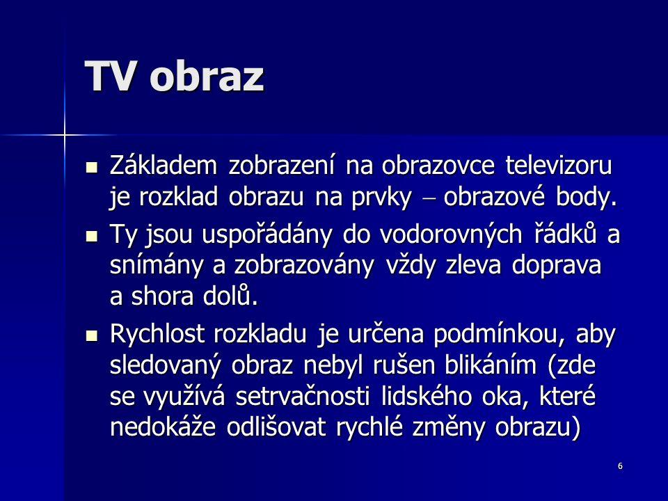 6 TV obraz Základem zobrazení na obrazovce televizoru je rozklad obrazu na prvky  obrazové body.