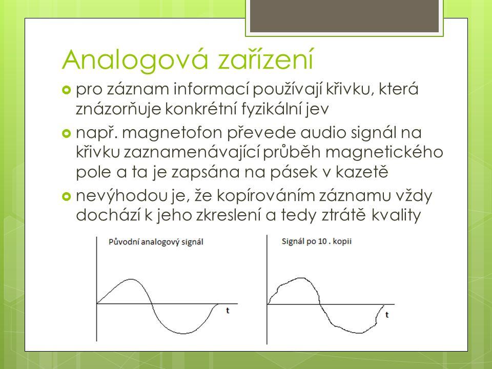 Digitální zařízení  využívá tzv A/D převodník analogového signálu  signál je převeden a zaznamenán jako číslo  nedochází ke ztrátám informace a ani kvality signálu  vyžaduje určitý početní výkon (rychlost, objem dat) daného zařízení