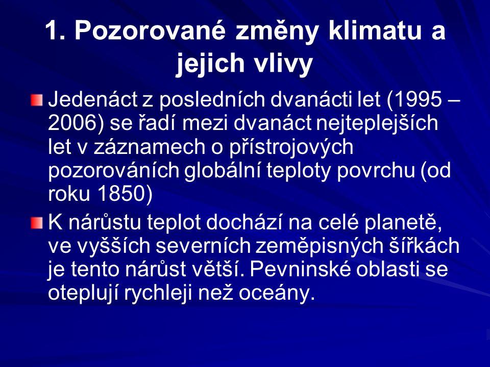 1. Pozorované změny klimatu a jejich vlivy Jedenáct z posledních dvanácti let (1995 – 2006) se řadí mezi dvanáct nejteplejších let v záznamech o příst