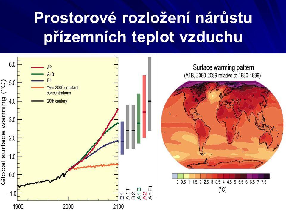 Prostorové rozložení nárůstu přízemních teplot vzduchu