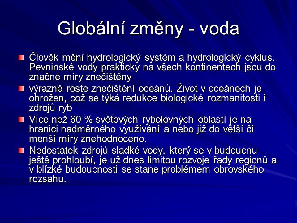 Globální změny - voda Člověk mění hydrologický systém a hydrologický cyklus. Pevninské vody prakticky na všech kontinentech jsou do značné míry znečiš