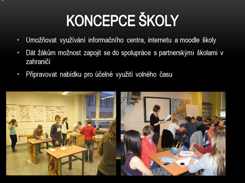 Umožňovat využívání informačního centra, internetu a moodle školy Dát žákům možnost zapojit se do spolupráce s partnerskými školami v zahraničí Připravovat nabídku pro účelné využití volného času K