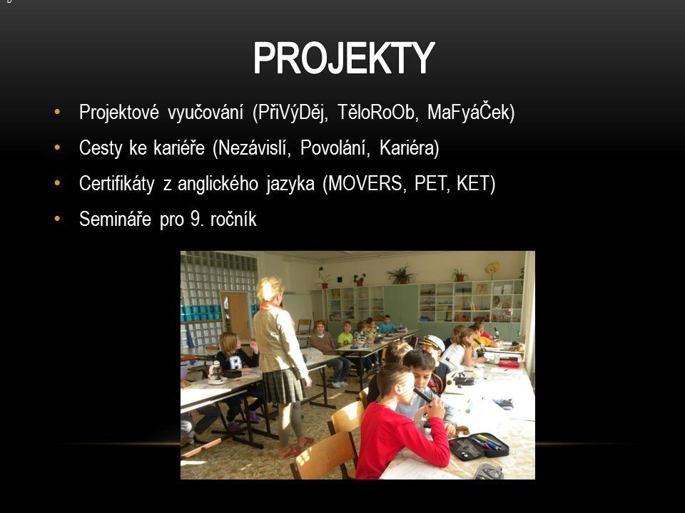 Projektové vyučování (PřiVýDěj, TěloRoOb, MaFyáČek) Cesty ke kariéře (Nezávislí, Povolání, Kariéra) Certifikáty z anglického jazyka (MOVERS, PET, KET) Semináře pro 9.
