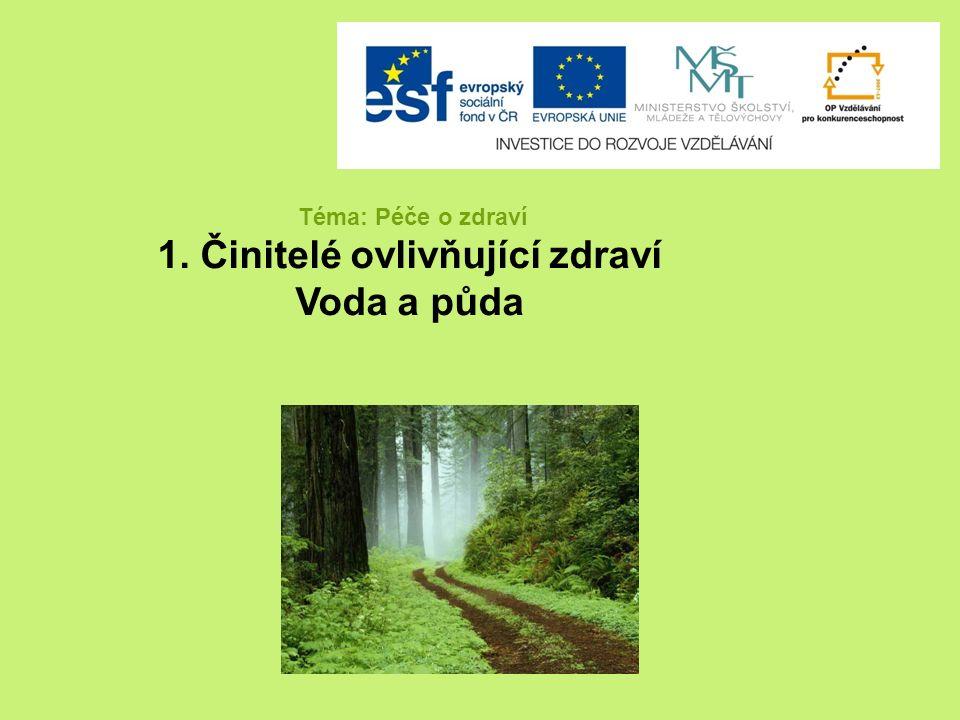 Téma: Péče o zdraví 1. Činitelé ovlivňující zdraví Voda a půda