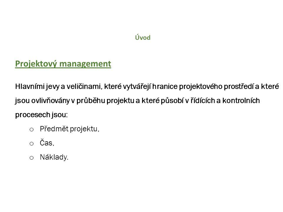 Úvod Projektový management Hlavními jevy a veličinami, které vytvářejí hranice projektového prostředí a které jsou ovlivňovány v průběhu projektu a kt