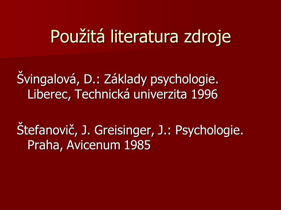Použitá literatura zdroje Švingalová, D.: Základy psychologie.