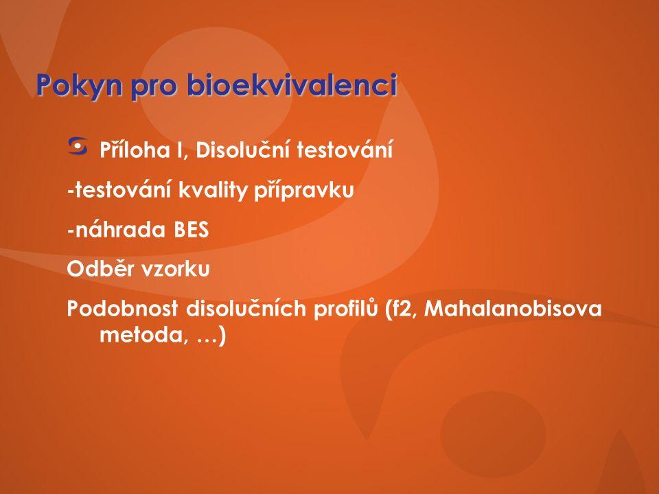 Pokyn pro bioekvivalenci Příloha I, Disoluční testování -testování kvality přípravku -náhrada BES Odběr vzorku Podobnost disolučních profilů (f2, Mahalanobisova metoda, …)