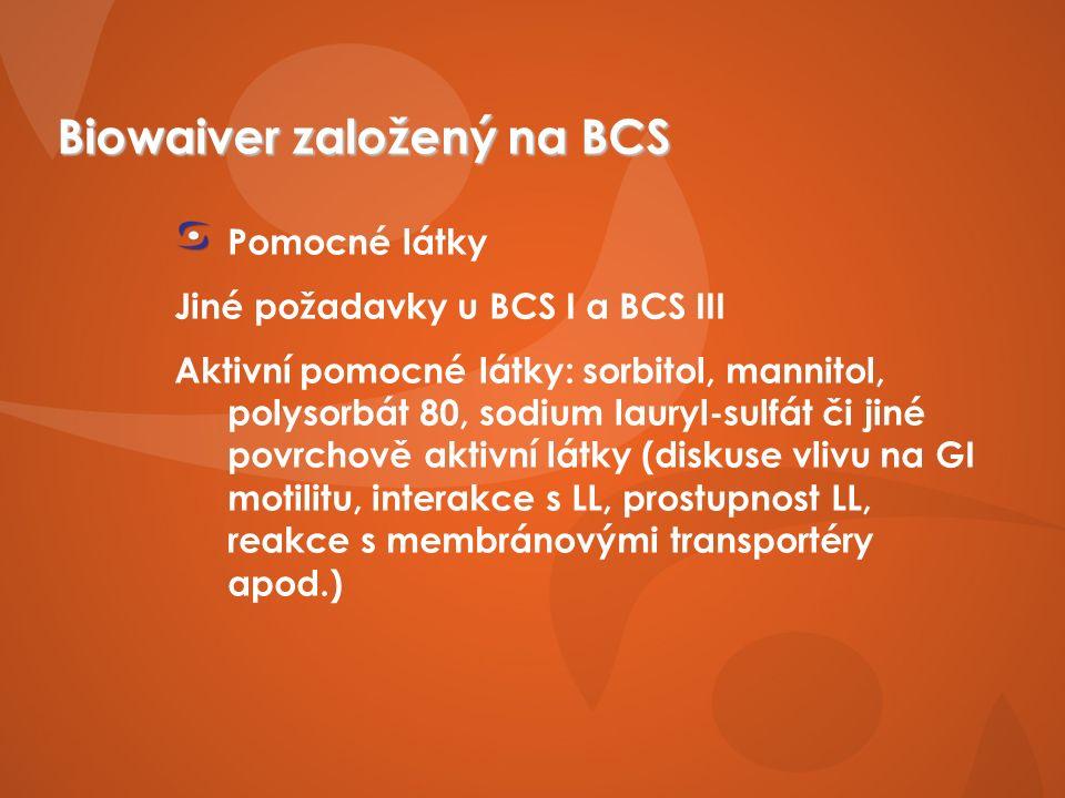 Biowaiver založený na BCS Pomocné látky Jiné požadavky u BCS I a BCS III Aktivní pomocné látky: sorbitol, mannitol, polysorbát 80, sodium lauryl-sulfát či jiné povrchově aktivní látky (diskuse vlivu na GI motilitu, interakce s LL, prostupnost LL, reakce s membránovými transportéry apod.)