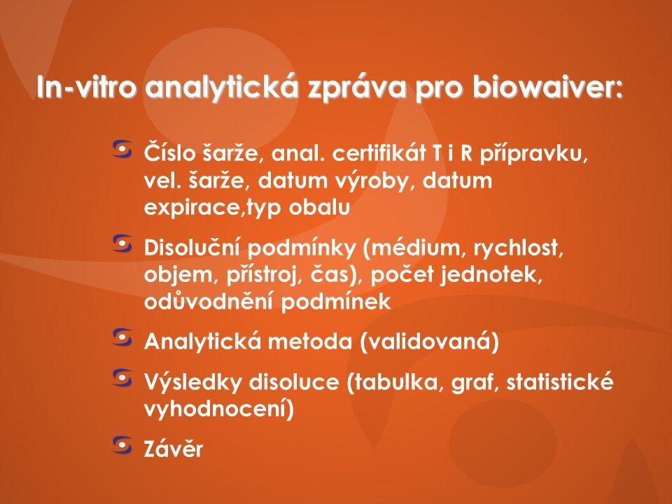 In-vitro analytická zpráva pro biowaiver: Číslo šarže, anal.