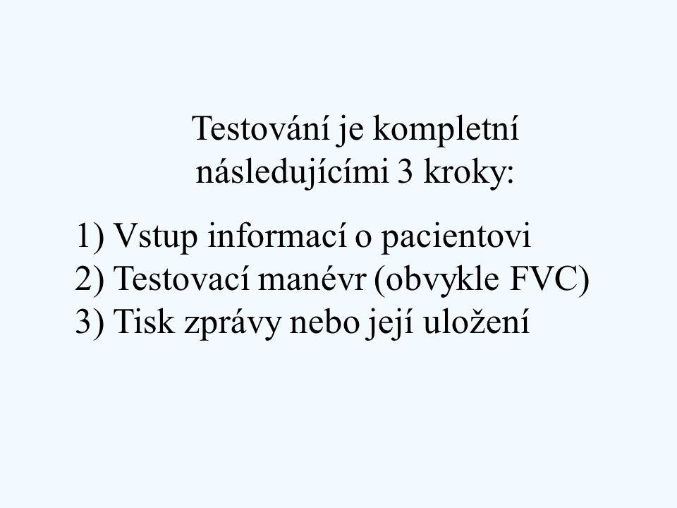 Testování je kompletní následujícími 3 kroky: 1) Vstup informací o pacientovi 2) Testovací manévr (obvykle FVC) 3) Tisk zprávy nebo její uložení