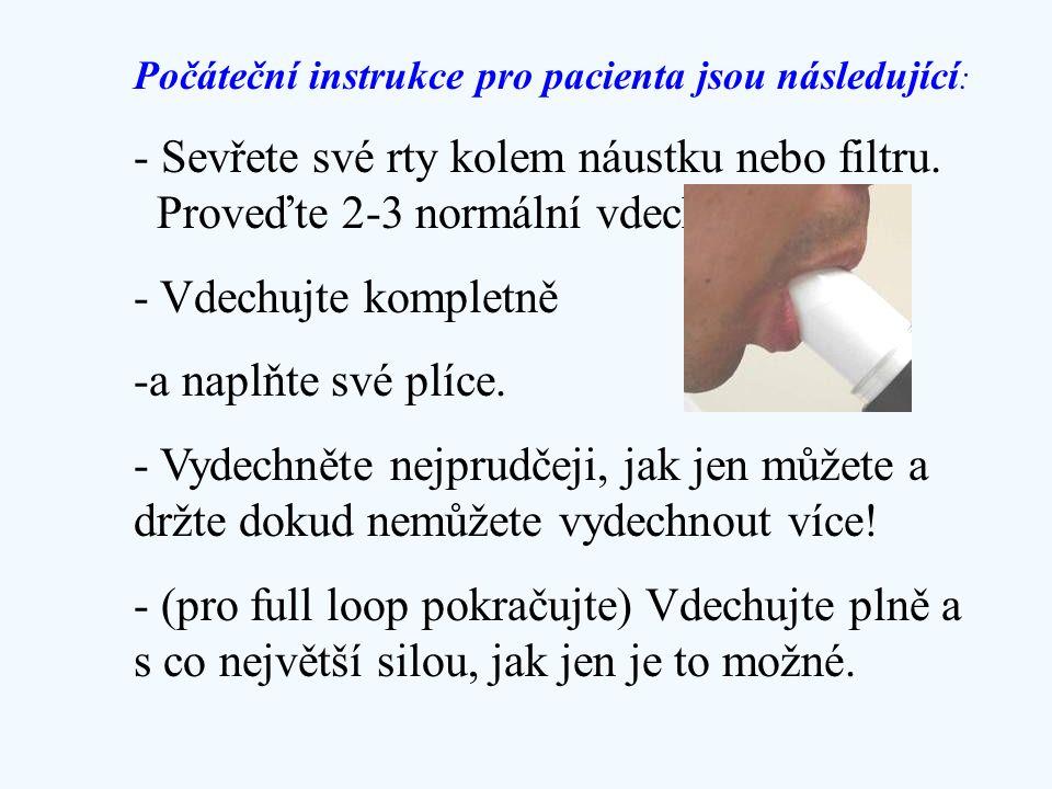 Počáteční instrukce pro pacienta jsou následující : - Sevřete své rty kolem náustku nebo filtru. Proveďte 2-3 normální vdechy. - Vdechujte kompletně -