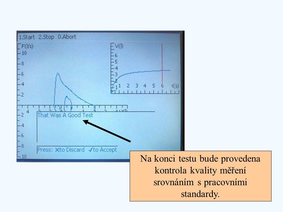 Na konci testu bude provedena kontrola kvality měření srovnáním s pracovními standardy.