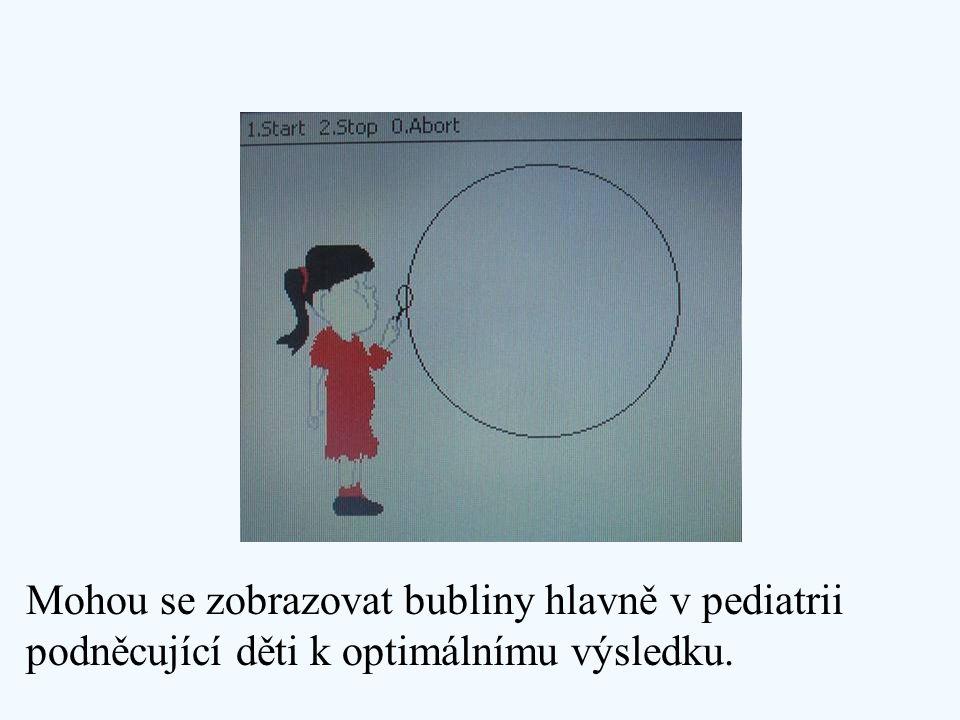 Mohou se zobrazovat bubliny hlavně v pediatrii podněcující děti k optimálnímu výsledku.