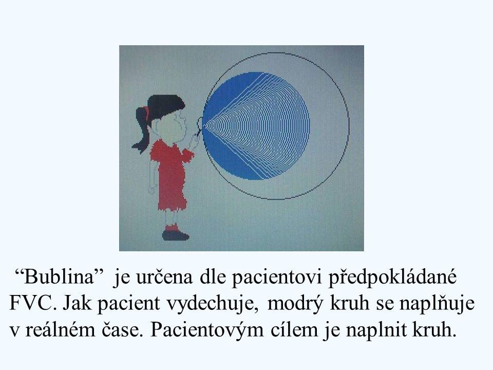 """""""Bublina"""" je určena dle pacientovi předpokládané FVC. Jak pacient vydechuje, modrý kruh se naplňuje v reálném čase. Pacientovým cílem je naplnit kruh."""