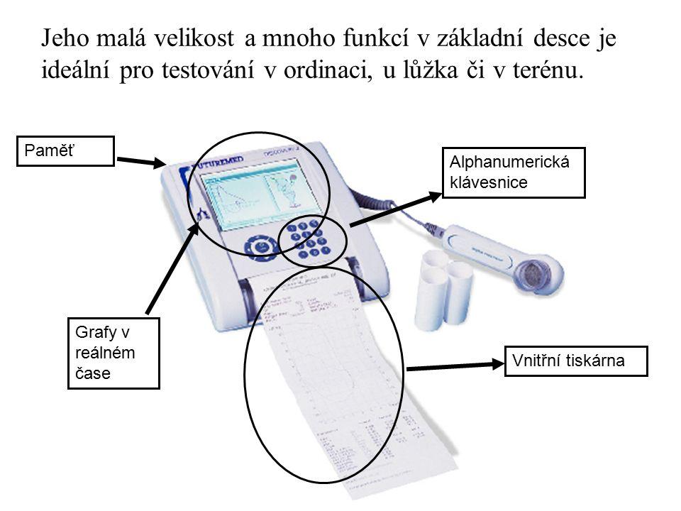 Testy jsou zobrazeny v reálném čase křivky průtok/objem a čas/objem, tak že můžete podporovat snahu pacienta a ujišťovat se, že testy jsou prováděny správně.