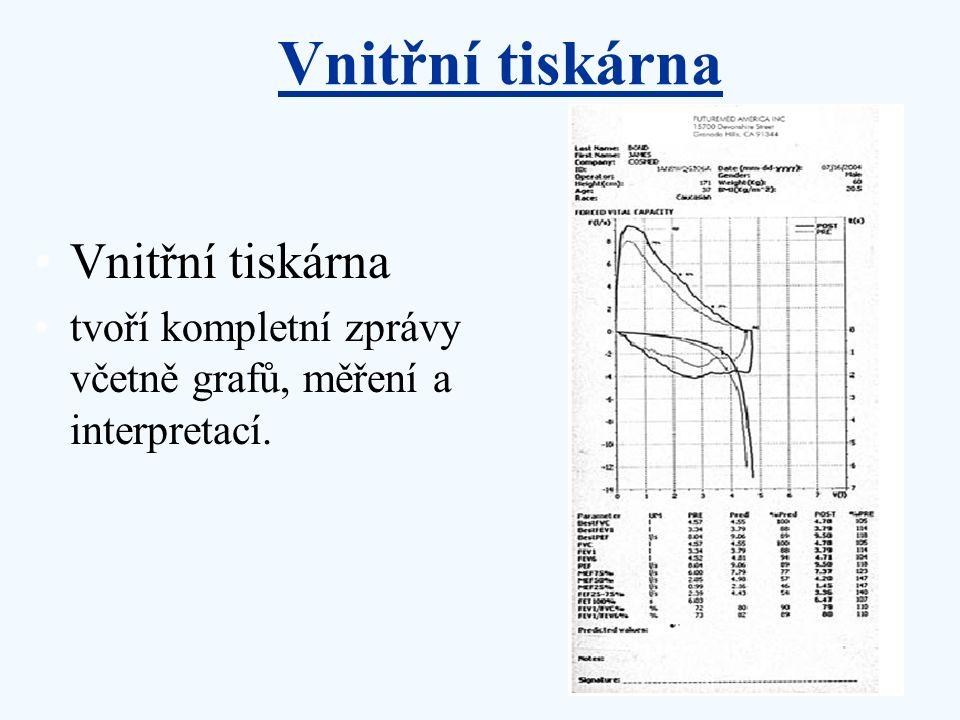Vnitřní tiskárna tvoří kompletní zprávy včetně grafů, měření a interpretací. Vnitřní tiskárna