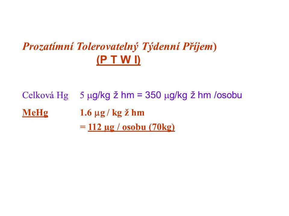 Prozatímní Tolerovatelný Týdenní Příjem) (P T W I) Celková Hg5  g/kg ž hm = 350  g/kg ž hm /osobu MeHg1.6  g / kg ž hm = 112 µg / osobu (70kg)