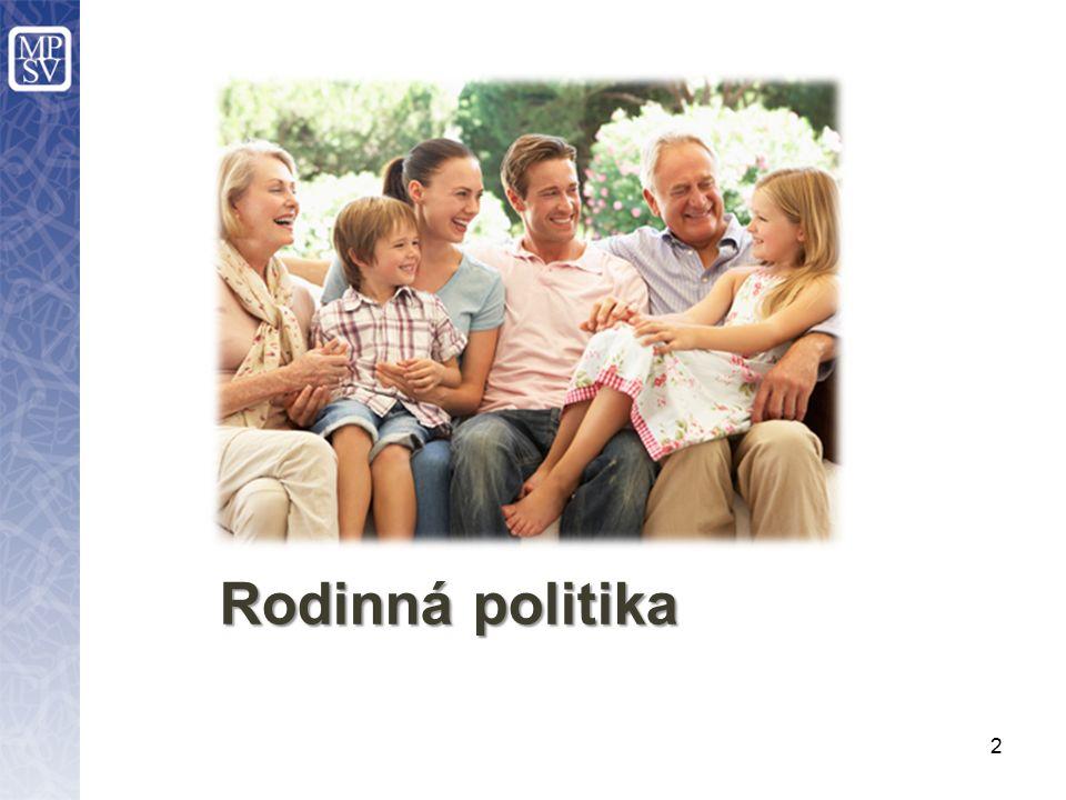 Zajištění realizace rodinné politiky –uplynulé 4 roky: faktická neexistence tématu RP, akcentována pouze oblast OSPOD, –vytvoření meziresortní expertní skupiny.