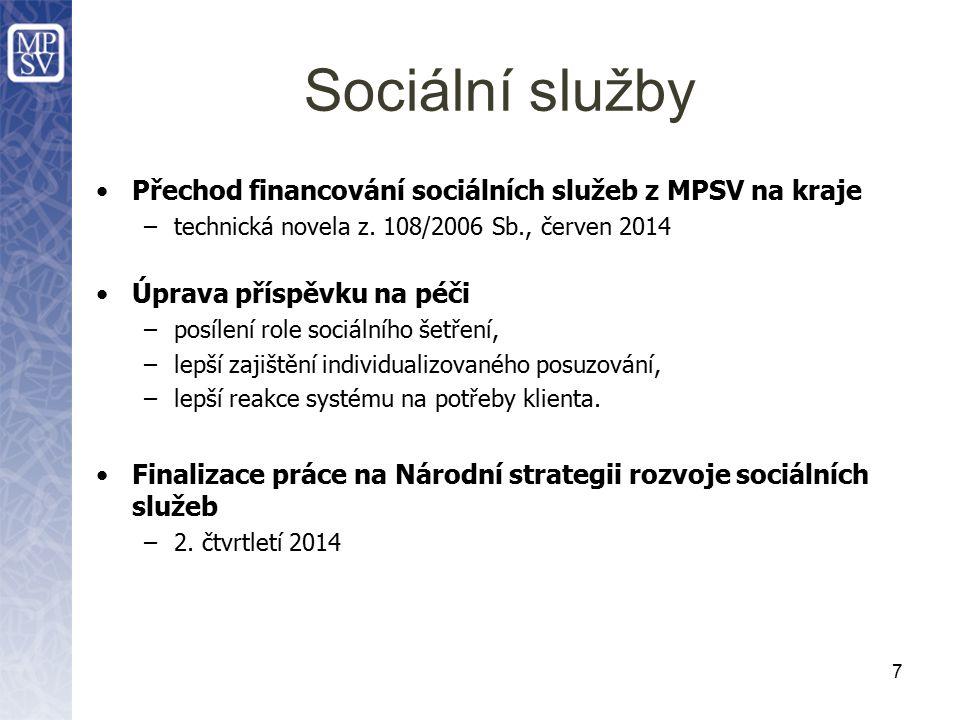 Sociální služby Přechod financování sociálních služeb z MPSV na kraje –technická novela z.