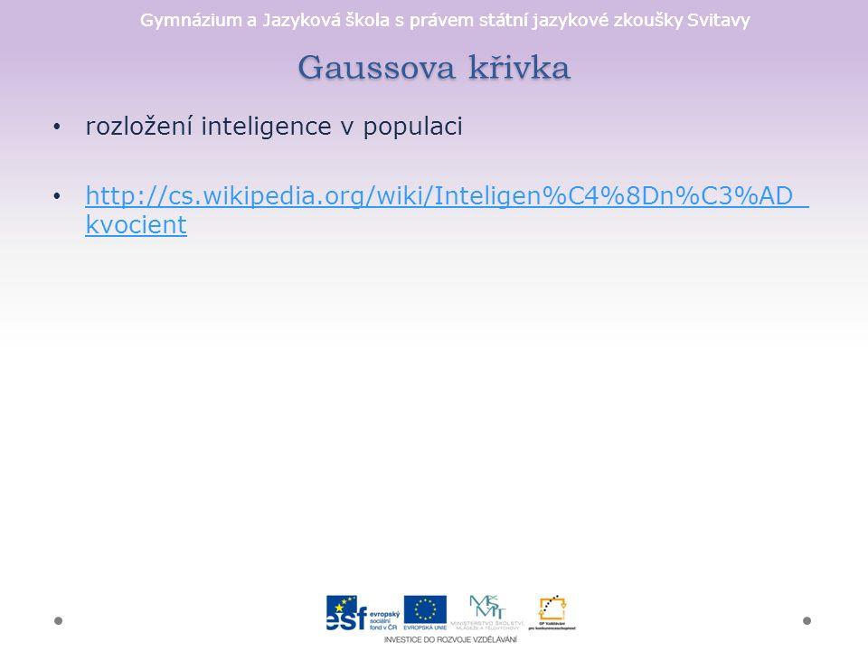 Gymnázium a Jazyková škola s právem státní jazykové zkoušky Svitavy Gaussova křivka rozložení inteligence v populaci http://cs.wikipedia.org/wiki/Inteligen%C4%8Dn%C3%AD_ kvocient http://cs.wikipedia.org/wiki/Inteligen%C4%8Dn%C3%AD_ kvocient
