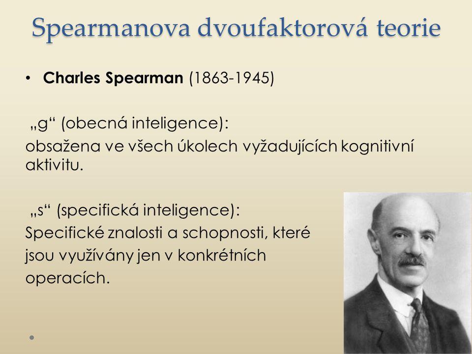 """Spearmanova dvoufaktorová teorie Charles Spearman (1863-1945) """"g (obecná inteligence): obsažena ve všech úkolech vyžadujících kognitivní aktivitu."""