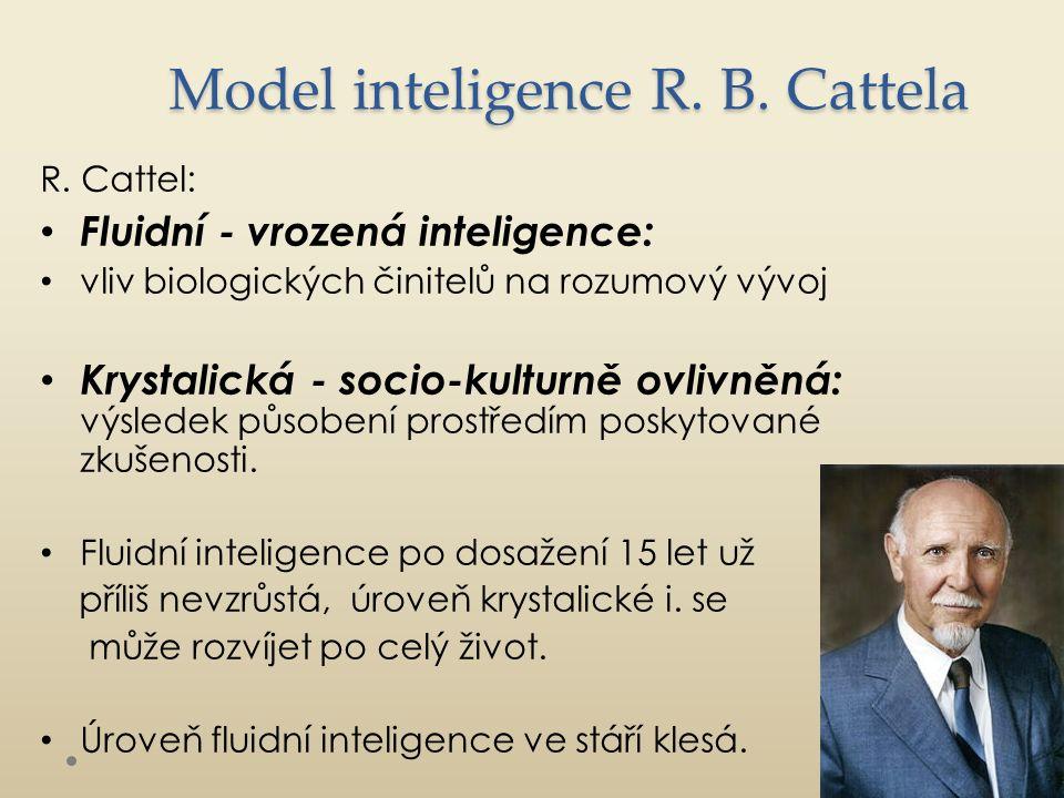 Sternbergova triarchická teorie inteligence Analytická inteligence Mentální kroky či složky používané k řešení problémů Tvořivá inteligence Využití zkušeností způsobem, který podporuje získání vhledu Praktická inteligence Schopnost poznávat každodenní souvislosti a přizpůsobovat se jim