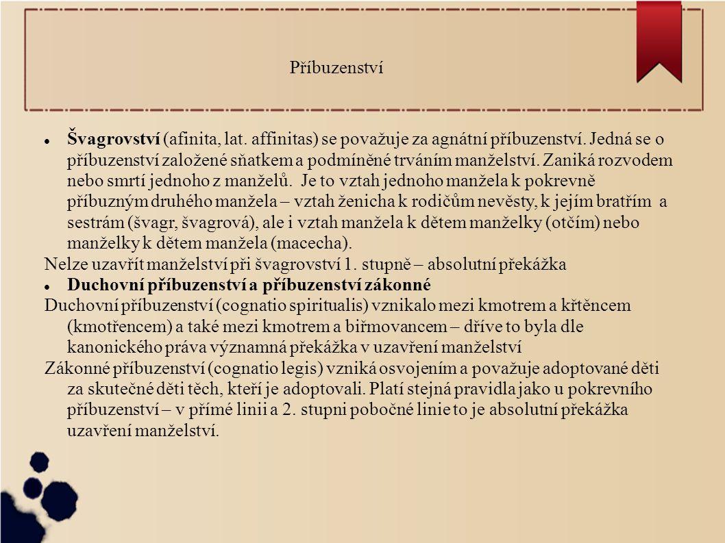 Švagrovství (afinita, lat. affinitas) se považuje za agnátní příbuzenství. Jedná se o příbuzenství založené sňatkem a podmíněné trváním manželství. Za