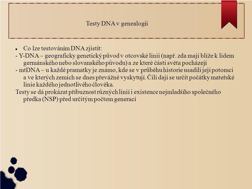 Testy DNA v genealogii Co lze testováním DNA zjistit: - Y-DNA – geograficky genetický původ v otcovské linii (např. zda mají blíže k lidem germánského
