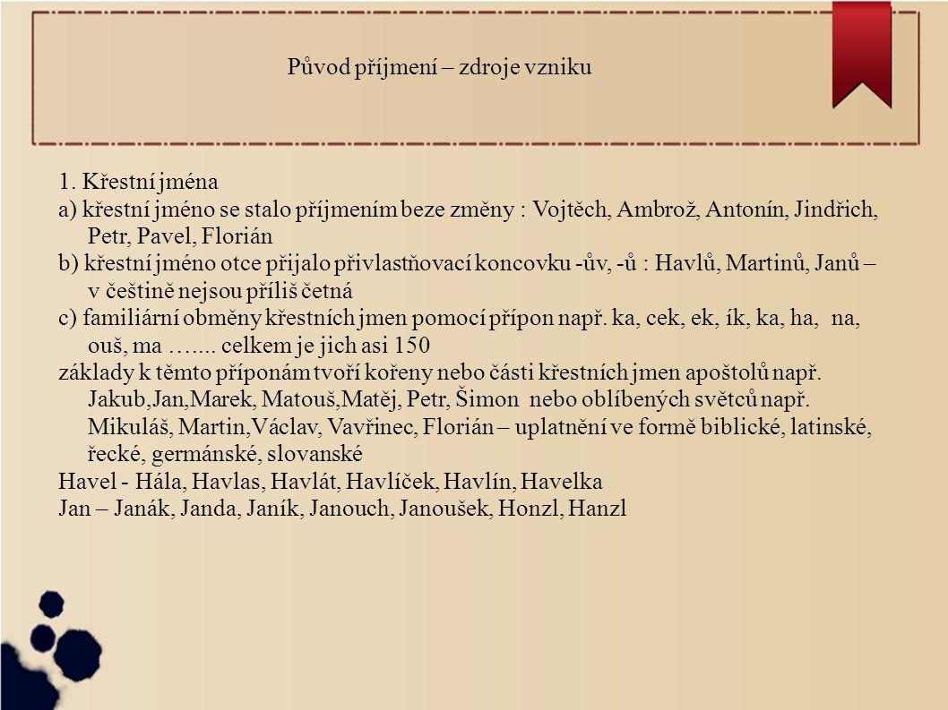 Původ příjmení – zdroje vzniku 1. Křestní jména a) křestní jméno se stalo příjmením beze změny : Vojtěch, Ambrož, Antonín, Jindřich, Petr, Pavel, Flor