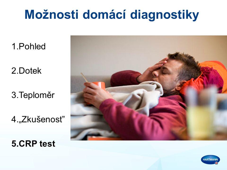 """Možnosti domácí diagnostiky 1.Pohled 2.Dotek 3.Teploměr 4.""""Zkušenost 5.CRP test"""