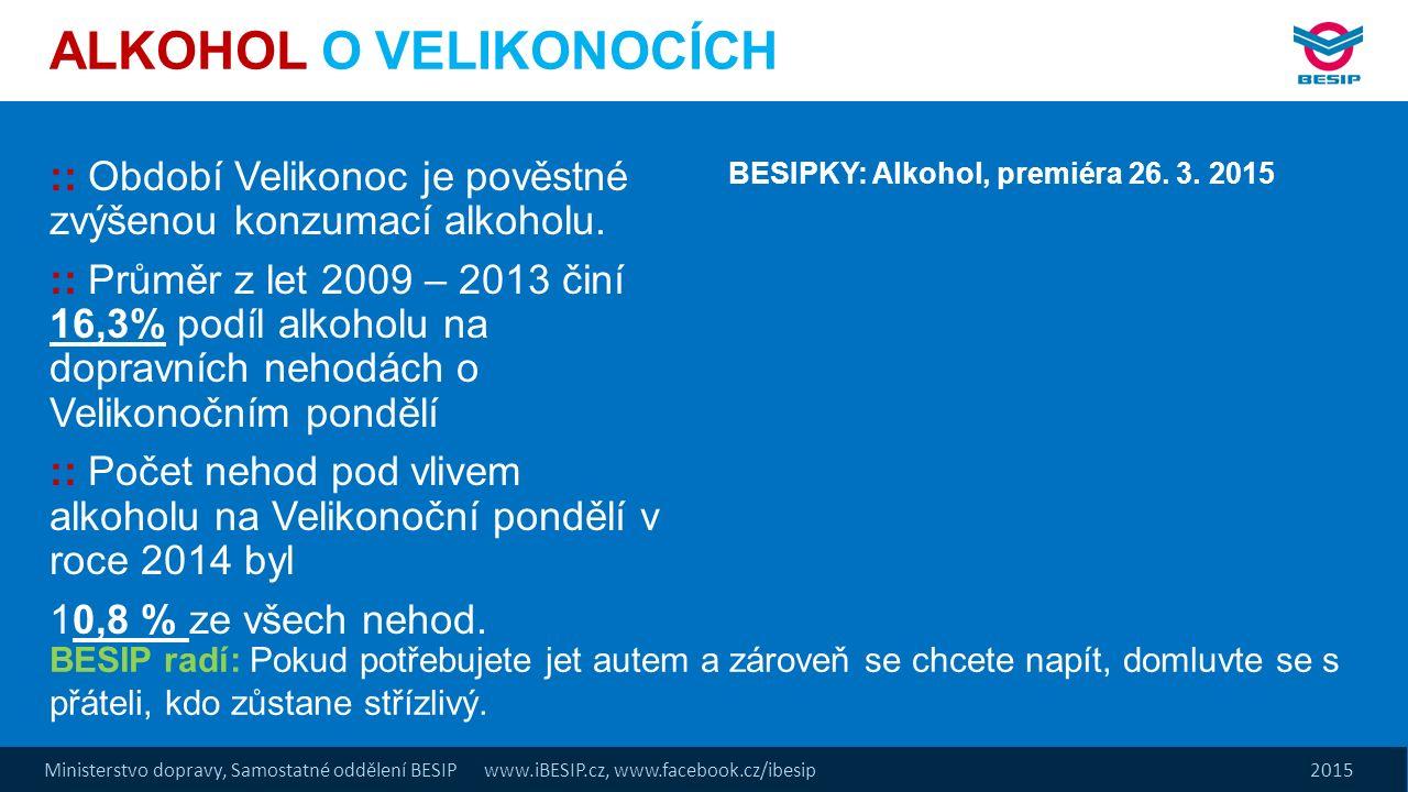 Ministerstvo dopravy, Samostatné oddělení BESIP www.iBESIP.cz, www.facebook.cz/ibesip 2015 :: Období Velikonoc je pověstné zvýšenou konzumací alkoholu.