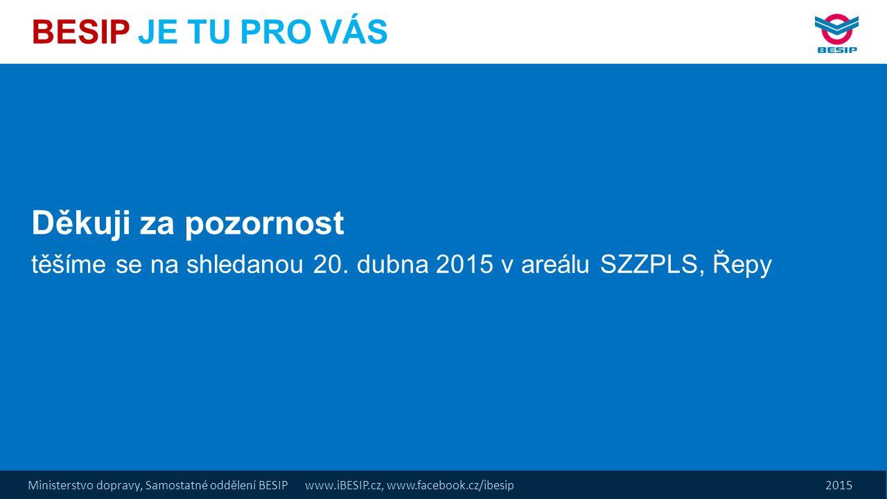 Ministerstvo dopravy, Samostatné oddělení BESIP www.iBESIP.cz, www.facebook.cz/ibesip 2015 BESIP JE TU PRO VÁS Děkuji za pozornost těšíme se na shleda