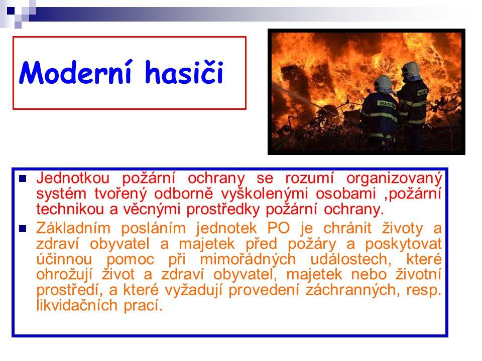 Hasičské jednotky HZS – seskupení rozpočtových organizací s názvem Hasičský záchranný sbor České republiky, kde vykonávají práci hasiče jako své hlavní povolání HZSp - je jednotka hasičů, kterou zřizuje právnická osoba nebo podnikající fyzická osoba, kde hasiči vykonávají práci jako své hlavní povolání.