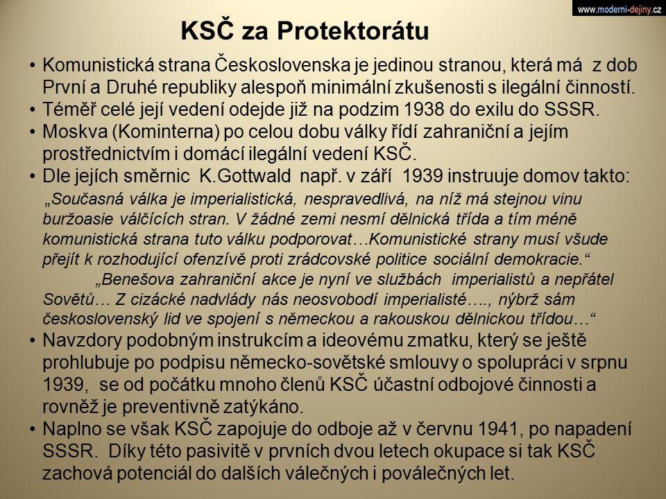 KSČ za Protektorátu Komunistická strana Československa je jedinou stranou, která má z dob První a Druhé republiky alespoň minimální zkušenosti s ilegá
