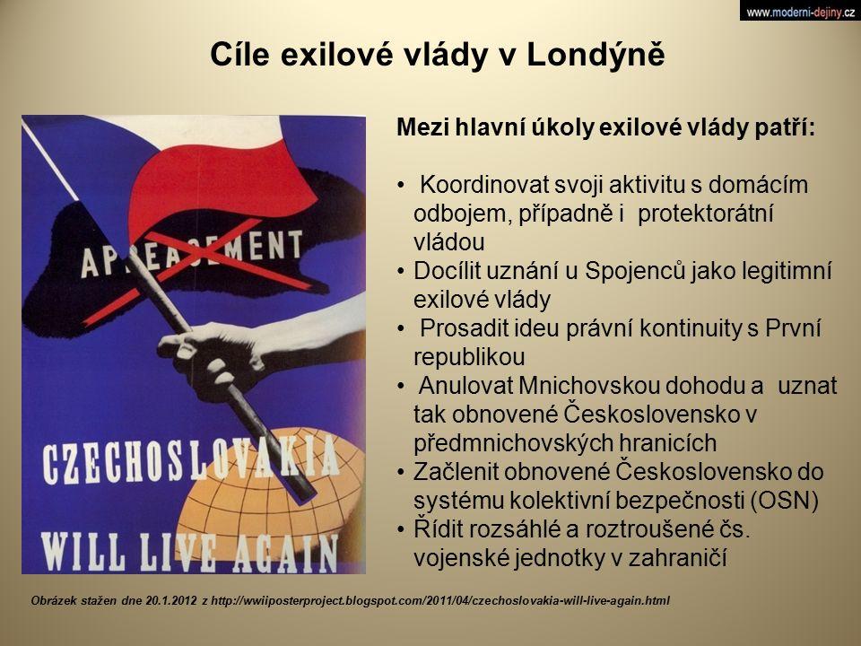 Mezi hlavní úkoly exilové vlády patří: Koordinovat svoji aktivitu s domácím odbojem, případně i protektorátní vládou Docílit uznání u Spojenců jako le